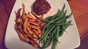 burger sweet potato fries